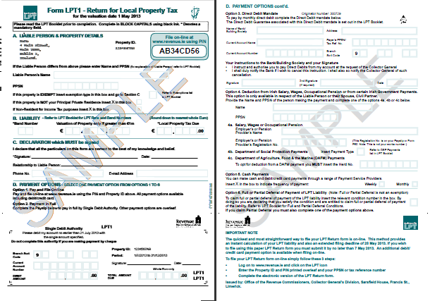 Sample form Form LPT1 for Local Property Tax