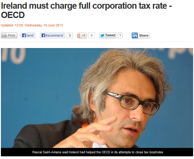 Ireland must charge full corporation tax rate - OECD - RTE- 19-6-13
