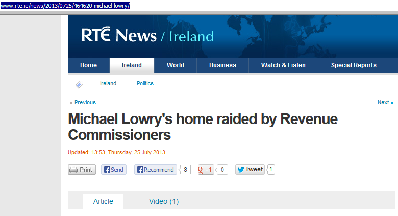 "RTE ""Michael Lowry's home raided by Revenue Commissioners"""