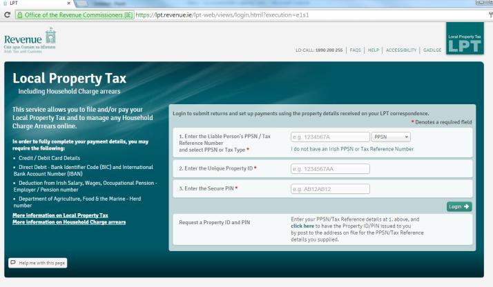 Revenue LPT Online screen 2015